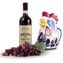 ORVIETO BLUE ROOSTER: Rooster of Fortune Pitcher (1 Liter 34 Oz 1 Qt)
