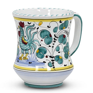 ORVIETO GREEN ROOSTER: Concave Deluxe Large Mug (17 Oz.)