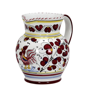 ORVIETO RED ROOSTER: Traditional Deruta Pitcher (1.25 Liters/40 Oz/5 Cups)