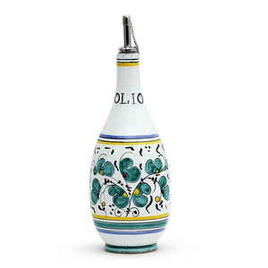 ORVIETO GREEN ROOSTER: Olive Oil Bottle Dispenser with Metal Capped Pourer