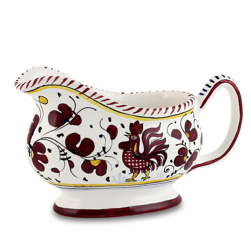 ORVIETO RED ROOSTER: Deruta Sauce boat