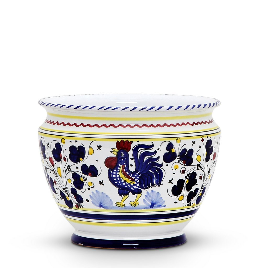 ORVIETO BLUE ROOSTER: Luxury Cachepot Planter Small