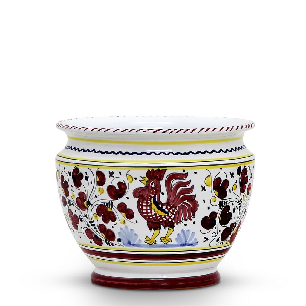 ORVIETO RED ROOSTER: Luxury Cachepot Planter Small