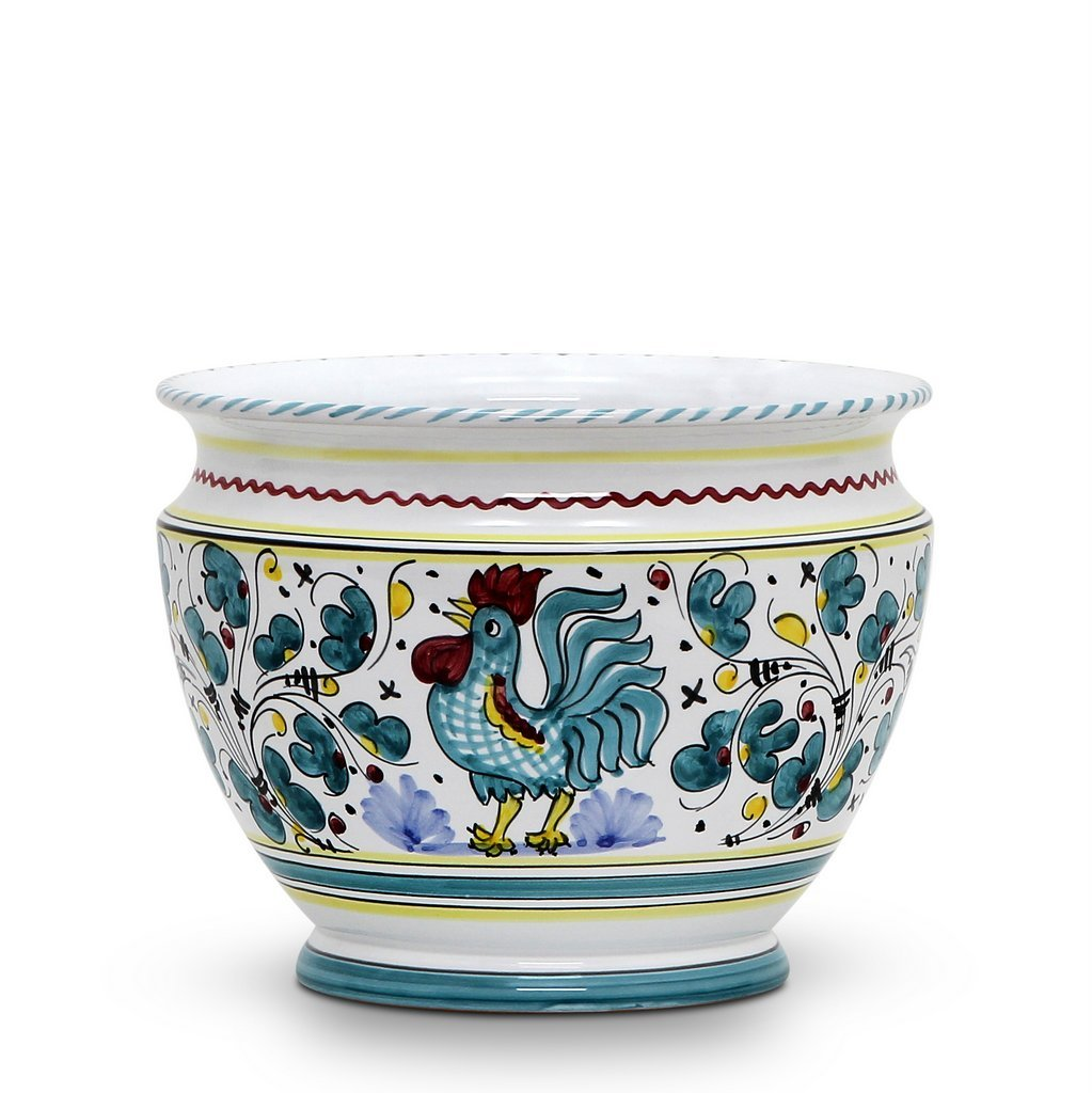 ORVIETO GREEN ROOSTER: Luxury Cachepot Planter SM