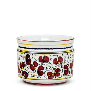 ORVIETO RED ROOSTER: Cylindrical Cover Pot - Cachepot Planter (Small)
