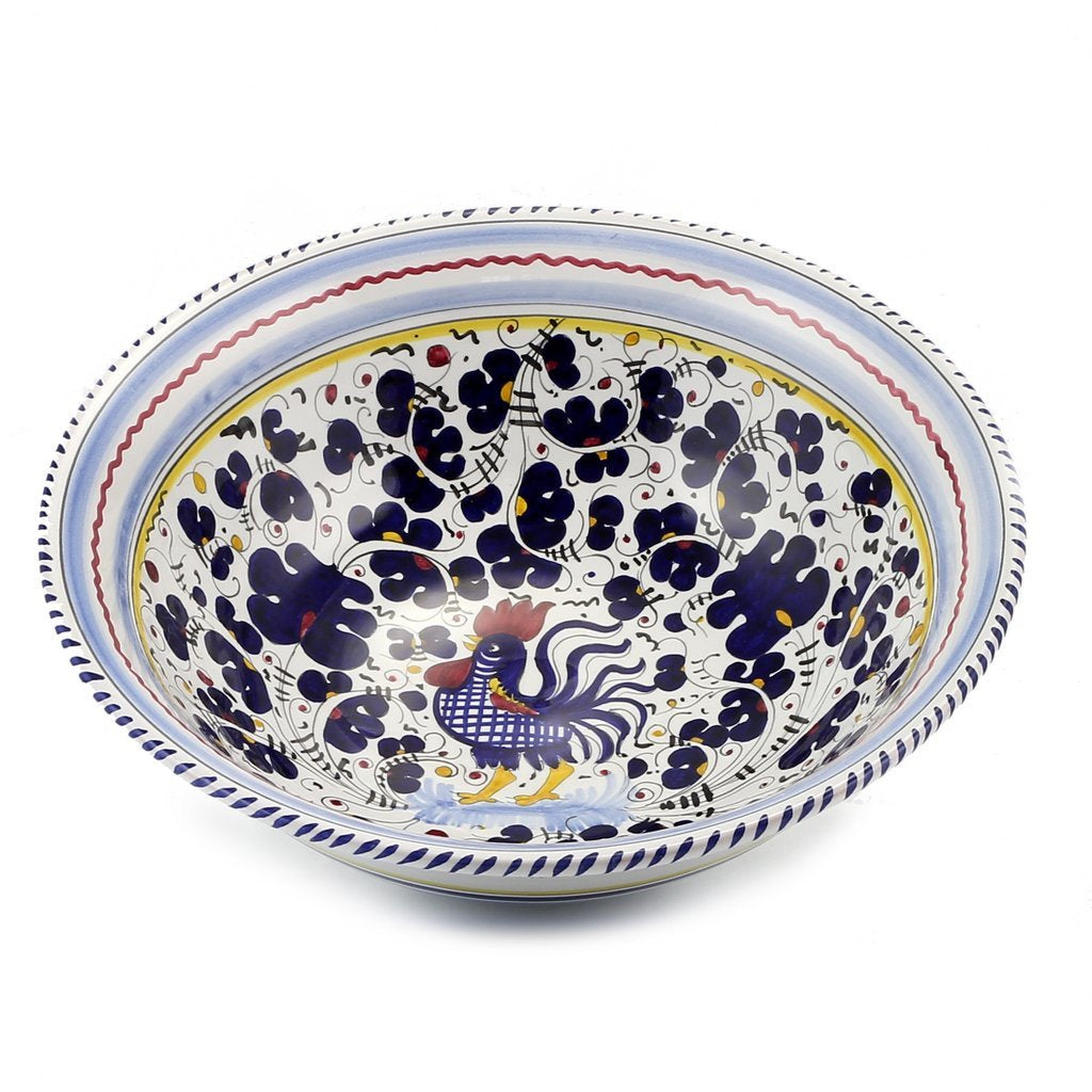 ORVIETO BLUE ROOSTER: Large Pasta/Salad Serving Bowl