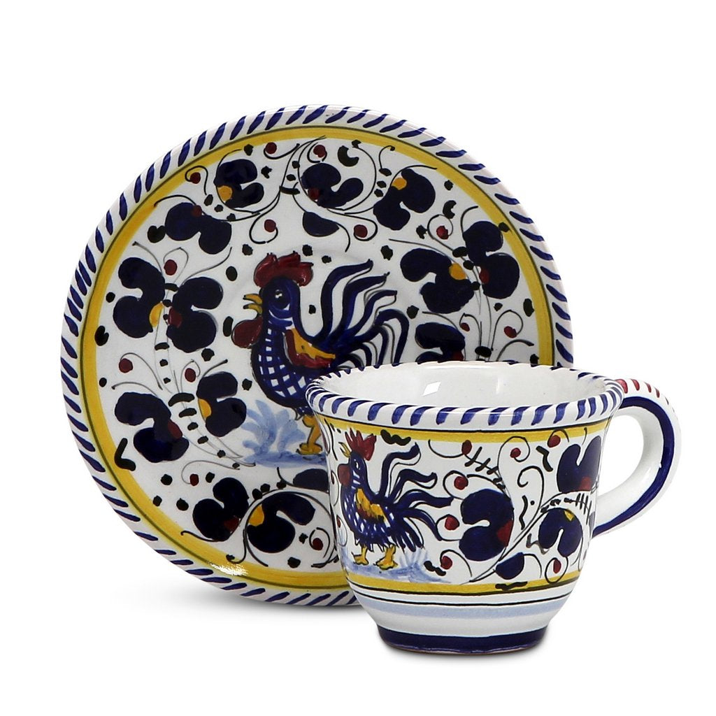 ORVIETO BLUE ROOSTER: Espresso cup and Saucer