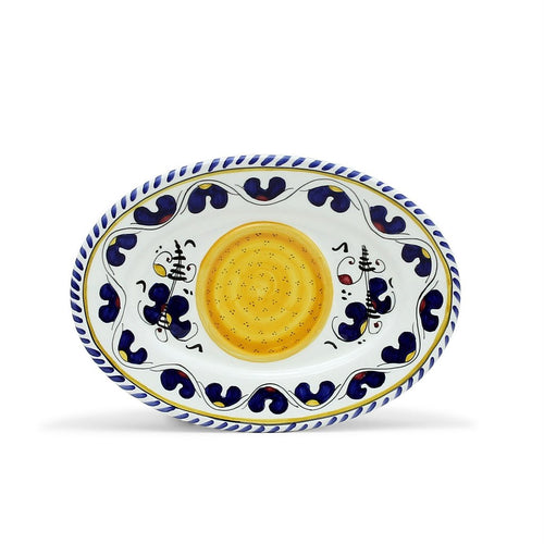 ORVIETO BLUE ROOSTER: Small Oval Tray 9