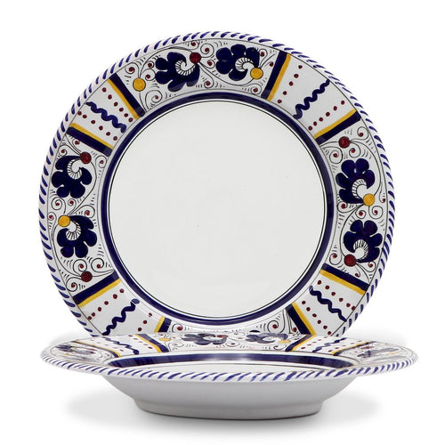 ORVIETO BLUE ROOSTER: Rim Pasta Soup Plate (White Center)