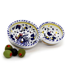 ORVIETO BLUE ROOSTER: Olive Dish Bowl - Relish and Condiments divided bowl