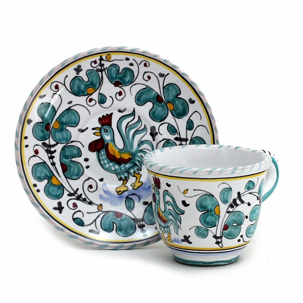 ORVIETO GREEN ROOSTER: Espresso cup and Saucer