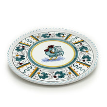 ORVIETO GREEN ROOSTER: Deruta Pizza Plate - Cake or Cheese Platter.