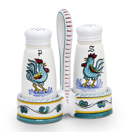 ORVIETO GREEN ROOSTER: Salt and Pepper Cruet