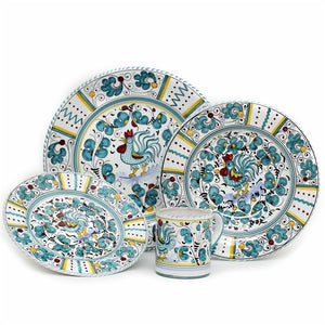 ORVIETO GREEN ROOSTER: 4 Pieces Place Setting