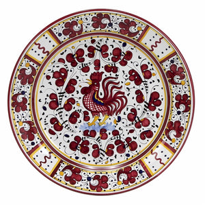 ORVIETO RED ROOSTER: Charger Platter