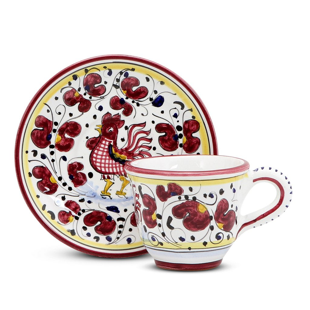 ORVIETO RED ROOSTER: Espresso cup and Saucer