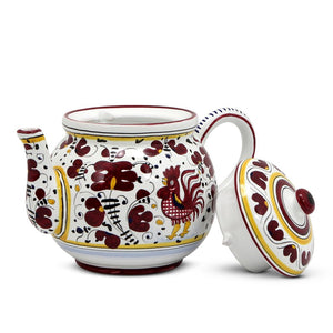 ORVIETO RED ROOSTER: Teapot [R]