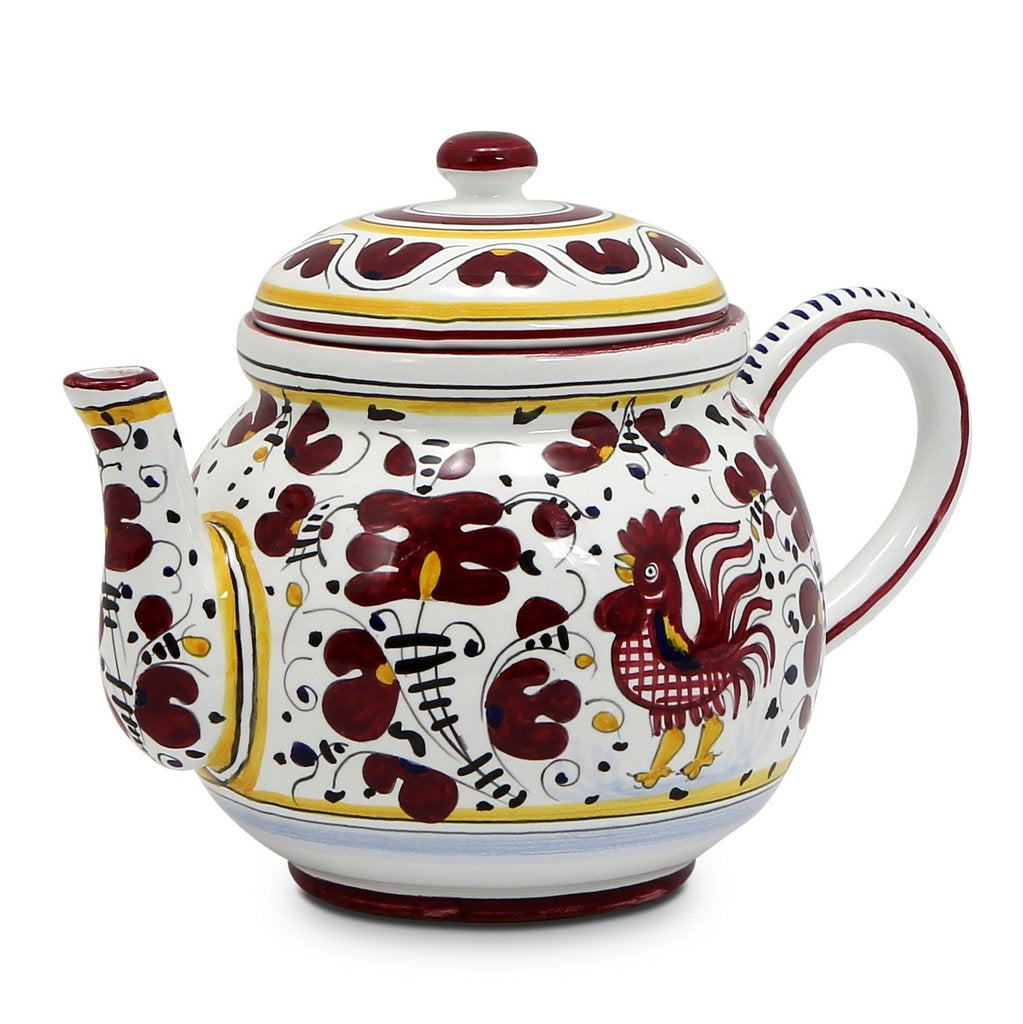 ORVIETO RED ROOSTER: Teapot