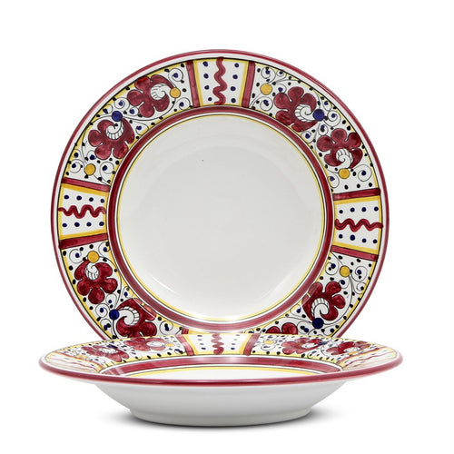 ORVIETO RED ROOSTER: Rim Pasta Soup Plate (White Center)
