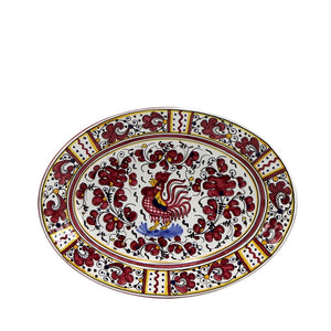 ORVIETO RED ROOSTER: Oval Plate