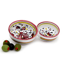 ORVIETO RED ROOSTER: Olive Dish Bowl - Relish and Condiments divided bowl