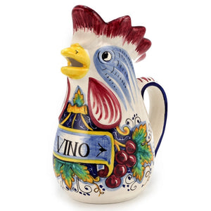 IN VINO VERITAS: Traditional Italian Rooster of Fortune Wine Pitcher (1.5 Liter 50 Oz)