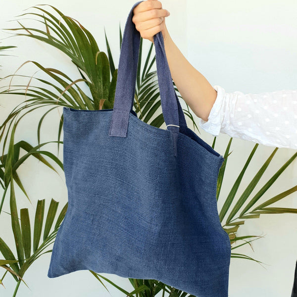 Soft Jute Oversize Tote Bag - Blue