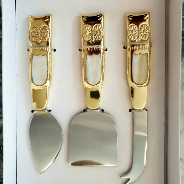 Set of 3 Owl Cheese Knives