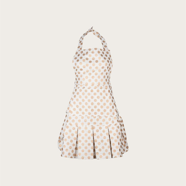 Alicia Vintage Cotton Apron in White and Gold Polka Dot