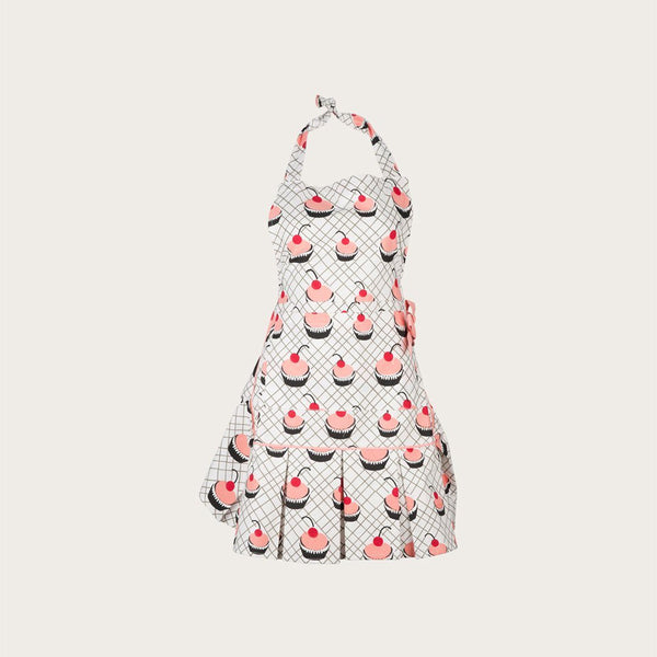 Gloria Vintage Cotton Apron in Cupcake Print