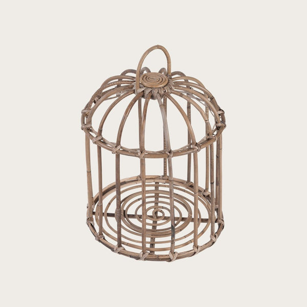 Clivia Large Woven Lantern with Glass Votive in Grey
