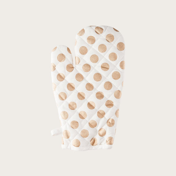 Alicia Oven Mitt in White and Gold Polka Dot
