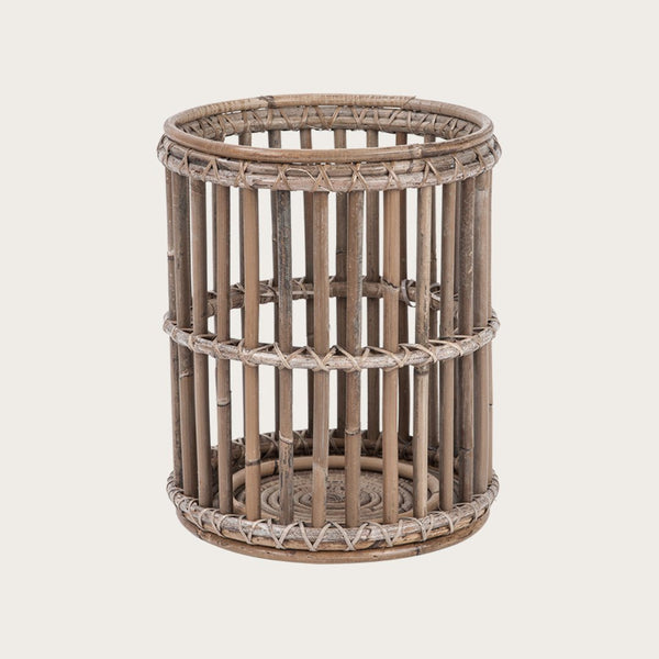 Vaquita Large Rattan Candle Holder in Grey