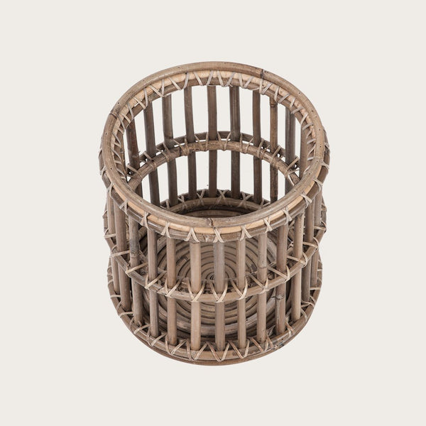 Vaquita Medium Rattan Candle Holder in Grey