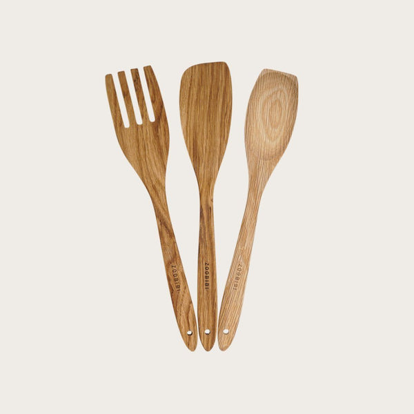 Bahati 3 Piece Wooden Utensil Set