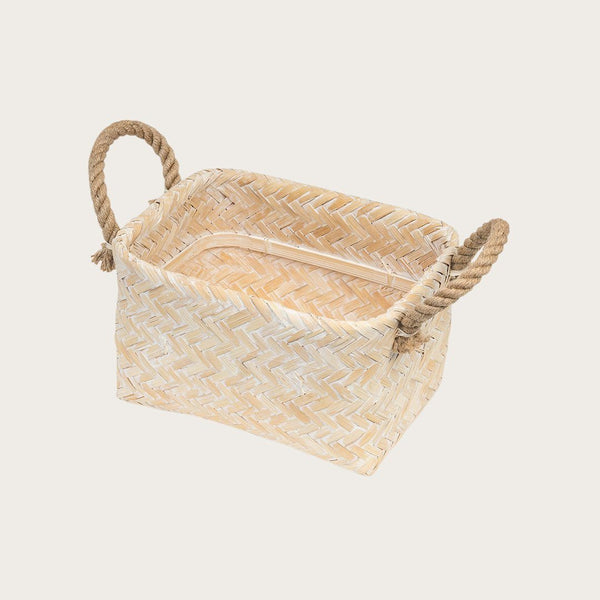 Zabi Whitewash Bamboo Basket in Small