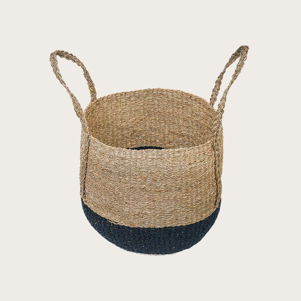 Pita Large Seagrass Basket in Black/Brown