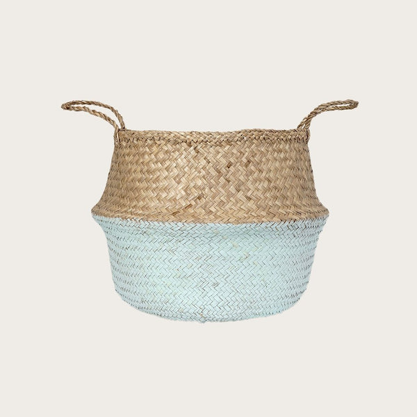Ratu Large Seagrass Basket in Mint Green/Natural