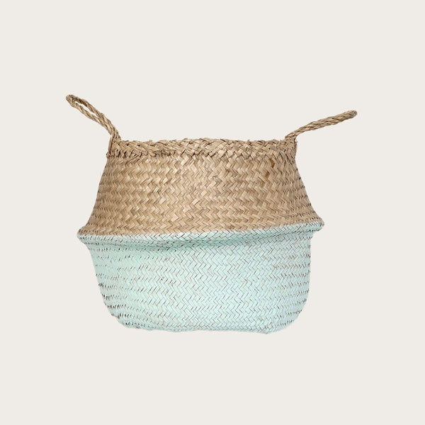 Ratu Small Seagrass Basket in Mint Green/Natural