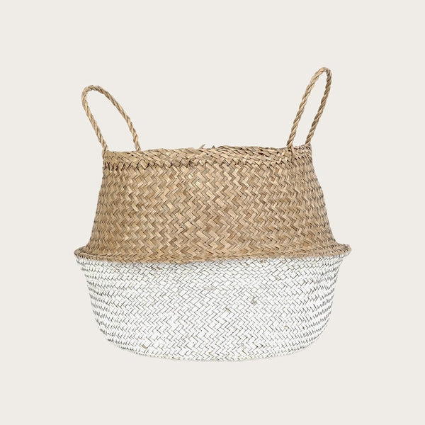 Ratu Small Seagrass Basket in Natural/White
