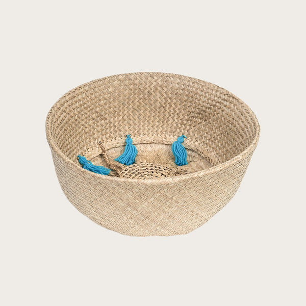 Mara Large Seagrass Basket with Turquoise Tassels
