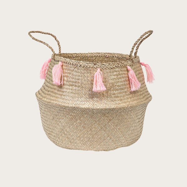 Mara Large Seagrass Basket with Pink Tassels