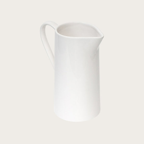 Suvero Ceramic Pitcher Vase in White