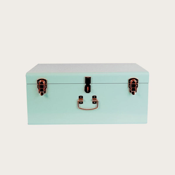 Malia Large Metal Trunk in Mint Green