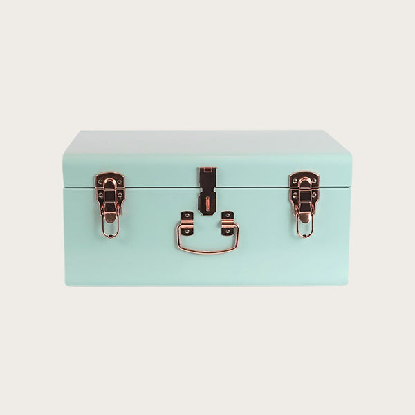 Malia Small Metal Storage Trunk in Mint Green