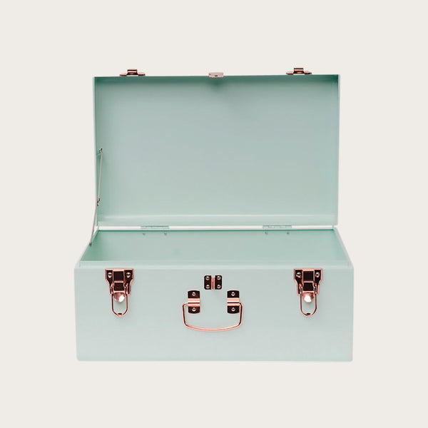 Malia Small Metal Trunk in Mint Green