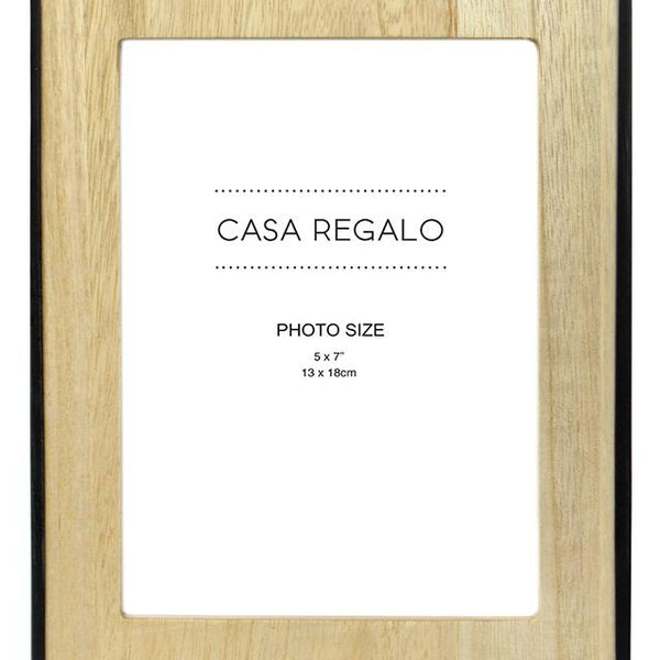 Thea Small Natural Wood Photo Frame with Black Rim