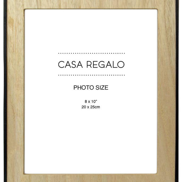 Thea Large Natural Wood Photo Frame with Black Rim