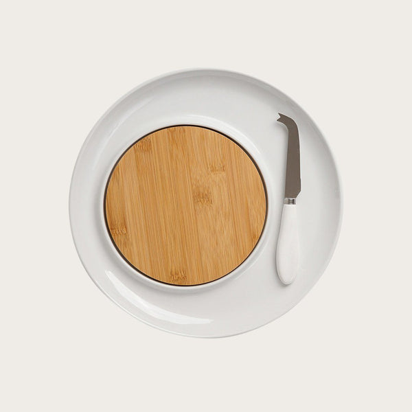Camille 3 Piece Cheese Set in Ceramic and Wood