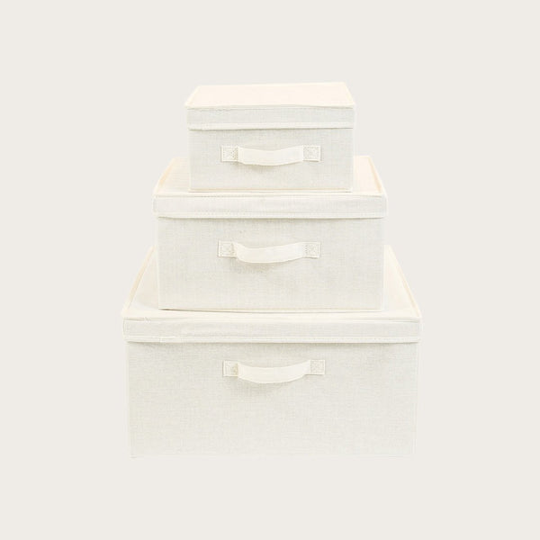 Dara Canvas Storage Box (Set of 3) in Natural